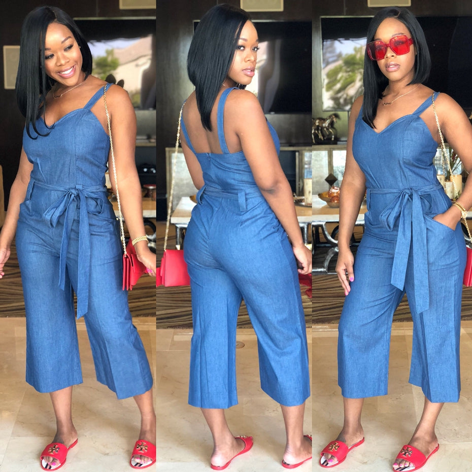 Haoyuan Plus Size Denim Jumpsuit Casual Loose One Piece Summer