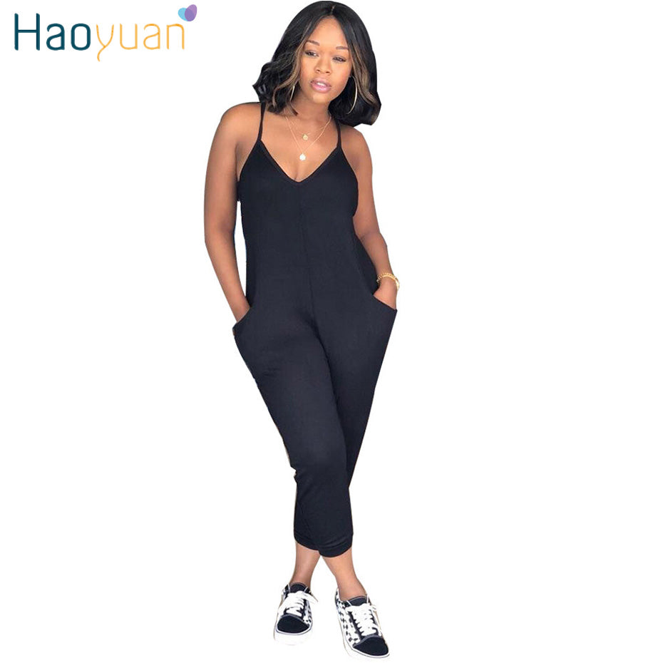 lace up in genuine special buy HAOYUAN Plus Size Rompers Womens Jumpsuit Summer Overalls Ladies Elegant  Spaghetti Strap V Neck One Piece Sexy Bodycon Jumpsuits