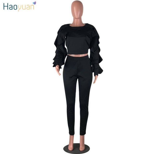 ... HAOYUAN Plus Size Two Piece Sets Women Tracksuit Sexy Ruffle Long  Sleeve Tops+Bodycon Pants ... 936c62c0e5f7