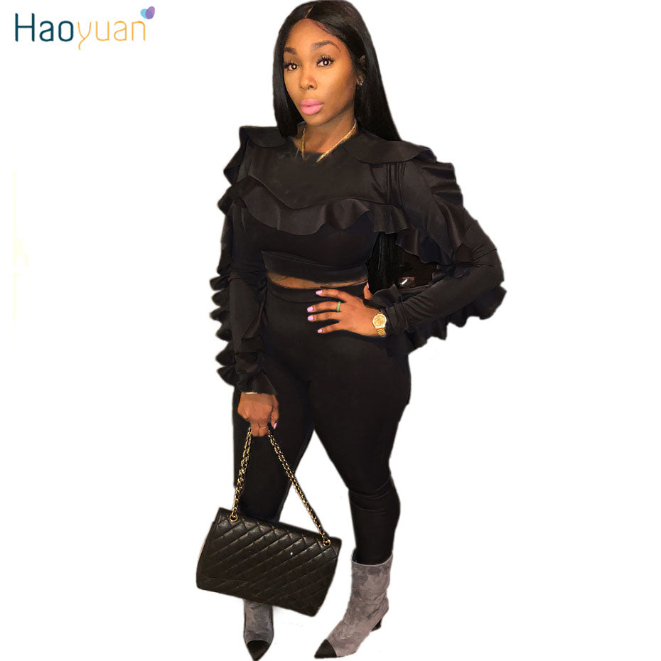 bcde49368aa59 HAOYUAN Plus Size Two Piece Sets Women Tracksuit Sexy Ruffle Long Sleeve  Tops+Bodycon Pants ...