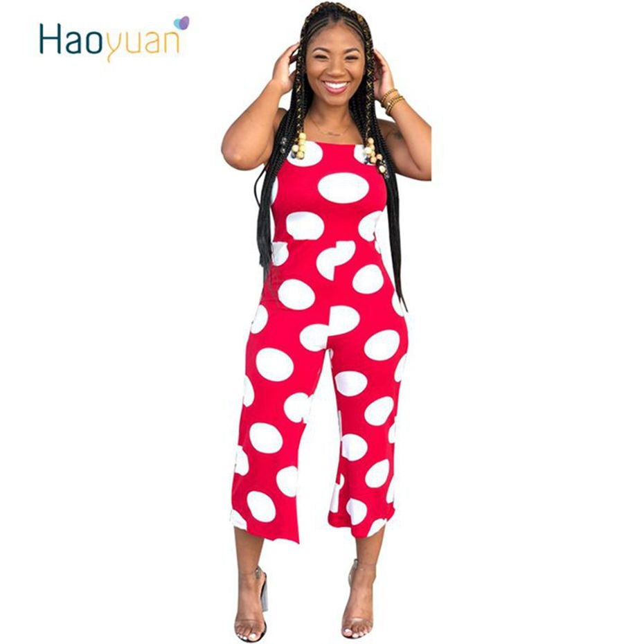 11b0931086 ... HAOYUAN Polka Dot Sexy Jumpsuits Summer Overalls Wide Leg Pants Party  Spaghetti Strap One Piece Rompers ...