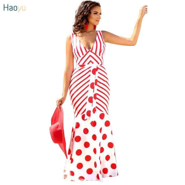 ... HAOYUAN Red White Striped Sexy Party Dress For Women Deep V Neck  Sleeveless Bandage Dresses Summer ... ef6b11169