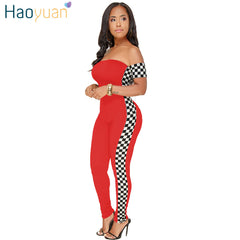 940fd151f37f HAOYUAN S-3XL Checkerboard Plus Size Sexy Jumpsuit Off Shoulder Casual Full  Bodysuit Summer Overalls ...