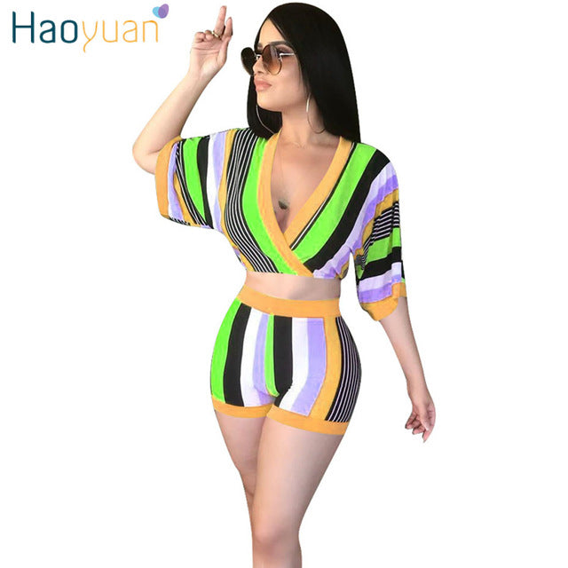 ... HAOYUAN Sexy 2 Piece Set Women Stripe Tops+Bodycon Shorts Suit Casual  Summer Outfits Plus ... 5caf1aa8d2e2