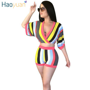 239661be84 HAOYUAN Sexy 2 Piece Set Women Stripe Tops+Bodycon Shorts Suit Casual Summer  Outfits Plus ...