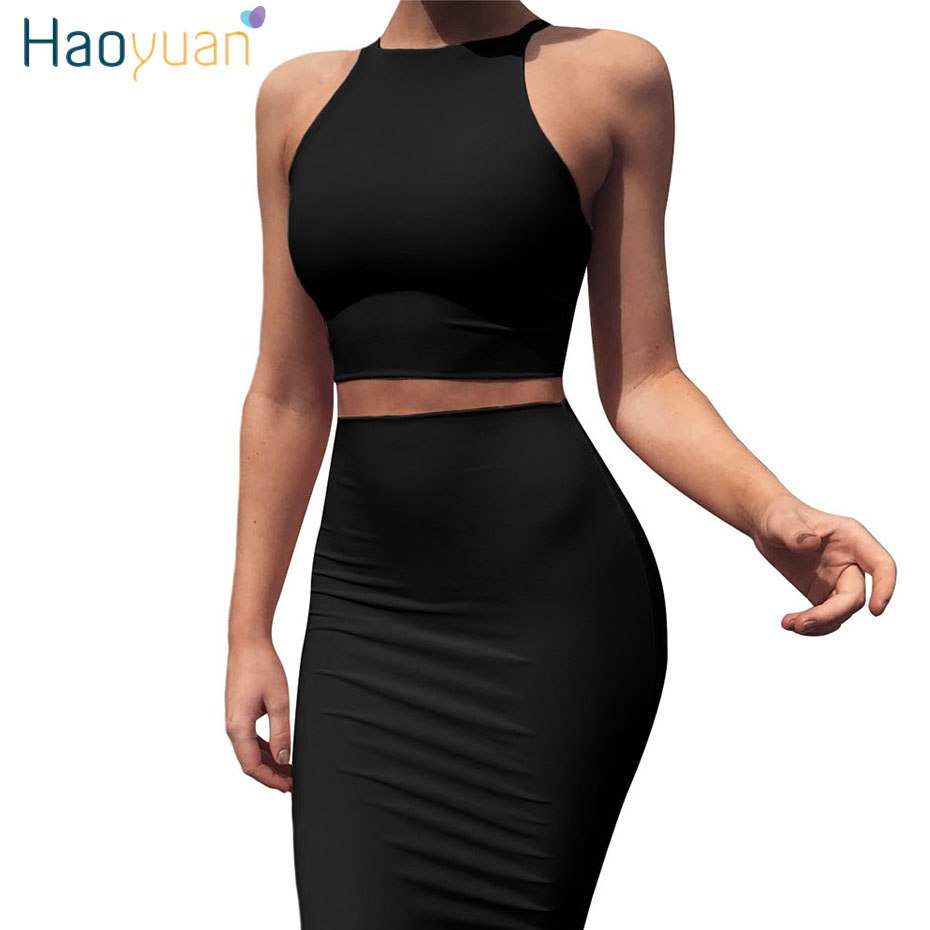 ... HAOYUAN Sexy Club Black Blue Red Yellow Two Piece Bodycon Dress Women  Summer Clothes Off Shoulder ... d79a60583885