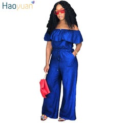 26ffc00a631e ... HAOYUAN Sexy Denim Jumpsuit 2018 Streetwear Off Shoulder Jean Overalls  One Piece Backless Casual Loose Rompers