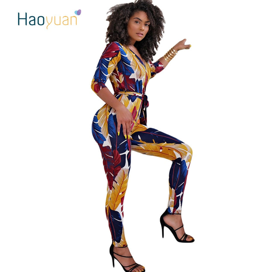 9b75f6f9cc03 HAOYUAN Sexy Jumpsuit Bodycon Autumn Overalls Deep-V Neck Half Sleeve  Casual Multicolor Feather Printed ...
