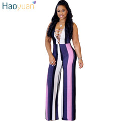 ea653cab9c1a HAOYUAN Sexy Jumpsuit Summer Overalls Striped Print Bodycon Full Bodysuit  Elegant Wide Leg Long Pants Rompers ...