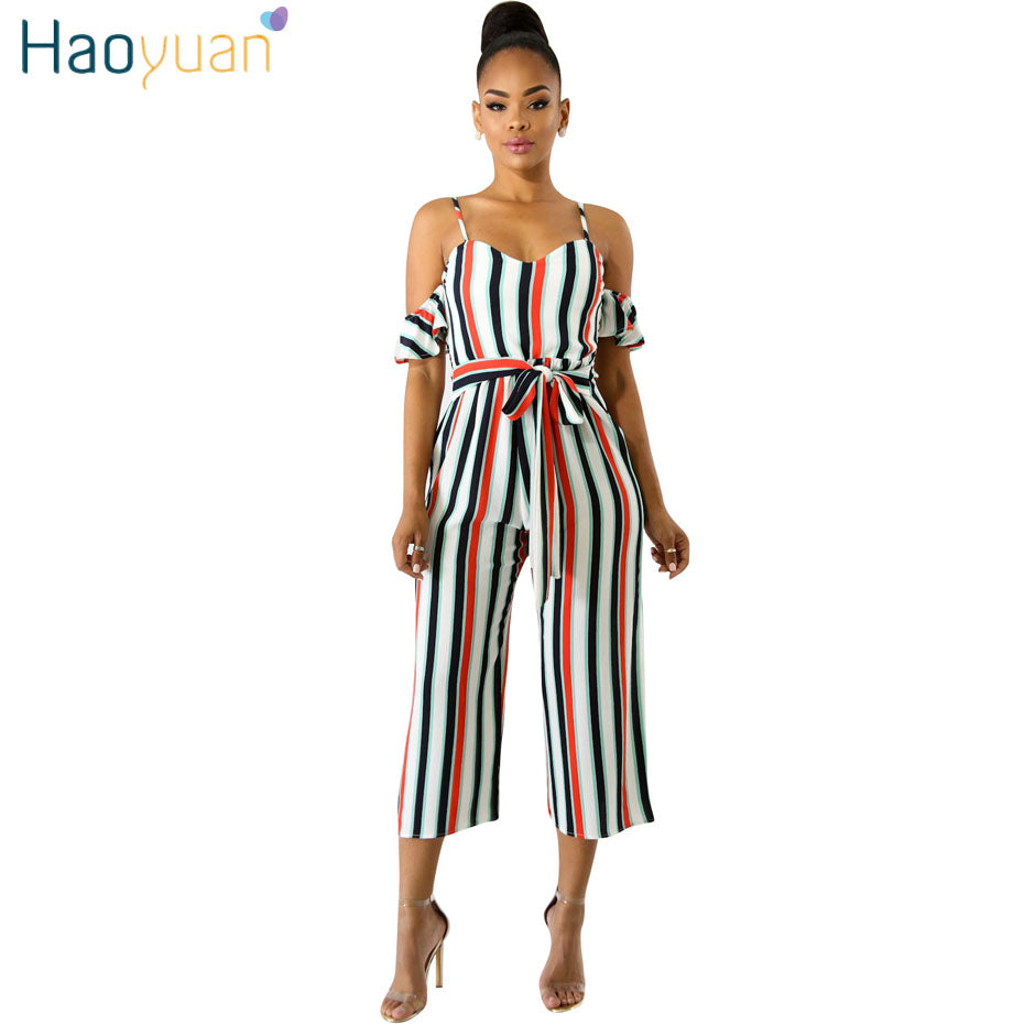 e1fd9386166 HAOYUAN Sexy Striped Jumpsuits Summer Casual Overalls Backless Club  Streetwear Spaghetti Strap One Piece Rompers Womens ...