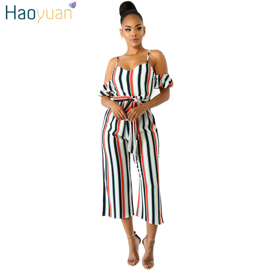 0d25067e639 ... HAOYUAN Sexy Striped Jumpsuits Summer Casual Overalls Backless Club  Streetwear Spaghetti Strap One Piece Rompers Womens ...