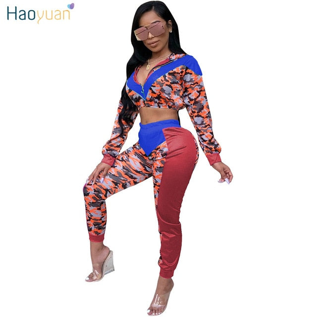 fa196233d0 Hover to zoom · HAOYUAN Sexy Two Piece Set Club Outfits Women Sweatsuit Camo  ...