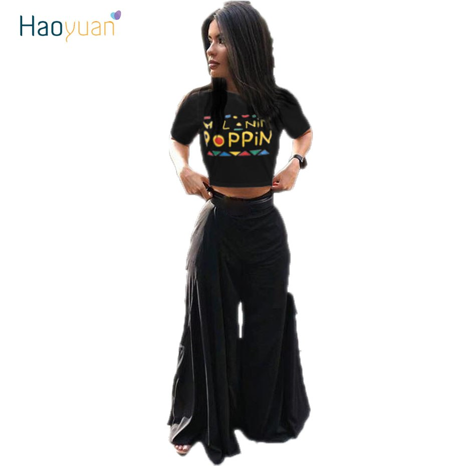 f05dbbe5ef HAOYUAN Sexy Two Piece Set Letter Print Crop Tops And Wide Leg Pants Suits 2  Piece. Hover to zoom