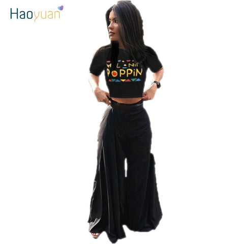 294b98ad2 Image of HAOYUAN Sexy Two Piece Set Letter Print Crop Tops And Wide Leg  Pants Suits ...