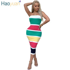 HAOYUAN Sexy Wrap Dress 2018 New Striped Strapless Off Shoulder Backless  Mid-calf Bodycon Dress ... 82eef31ec8d3