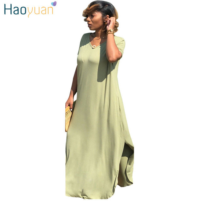 HAOYUAN Short Sleeve V Neck Long T Shirt Maxi Dress With Slit Plus Size  Women Clothes Summer Dresses Casual Loose Party Dress