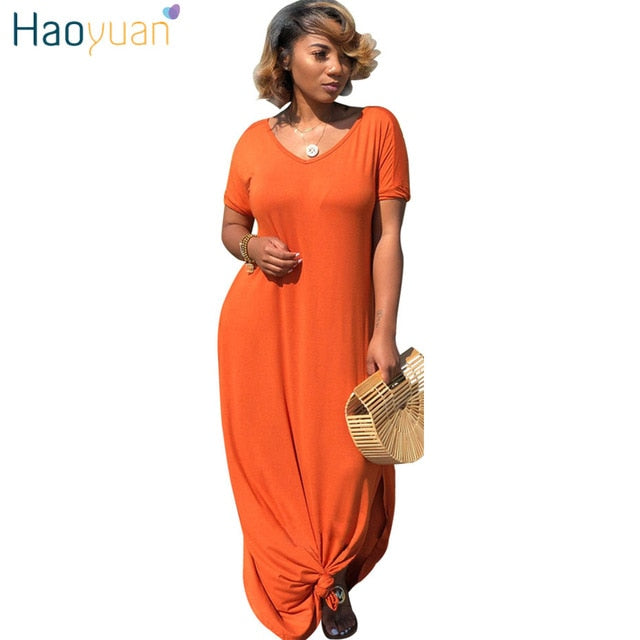 a73ebc71463a HAOYUAN Short Sleeve V Neck Long T Shirt Maxi Dress With Slit Plus Size  Women Clothes. Hover to zoom
