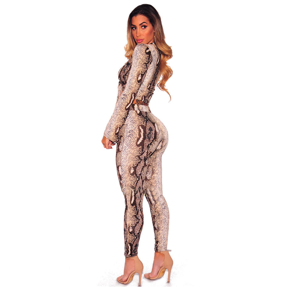 hot-selling official shop for luxury cheap for sale HAOYUAN Snake Skin Print Sexy Jumpsuits Two Piece Set Long Sleeve Overalls  Full Bodysuit Club Skinny Rompers Womens Jumpsuits