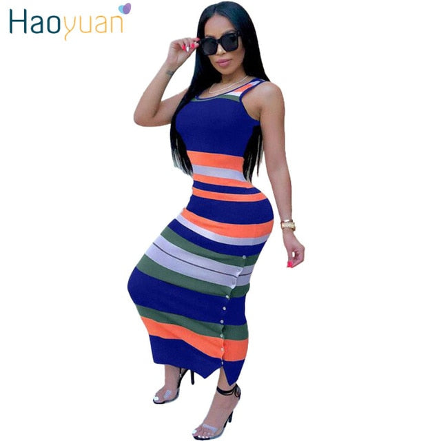 ... Striped Sexy Long Maxi Dress Club 2018 New Summer Sundress Tank Party  Dresses Vestido Women Clothes ... ce8c6c0249f8