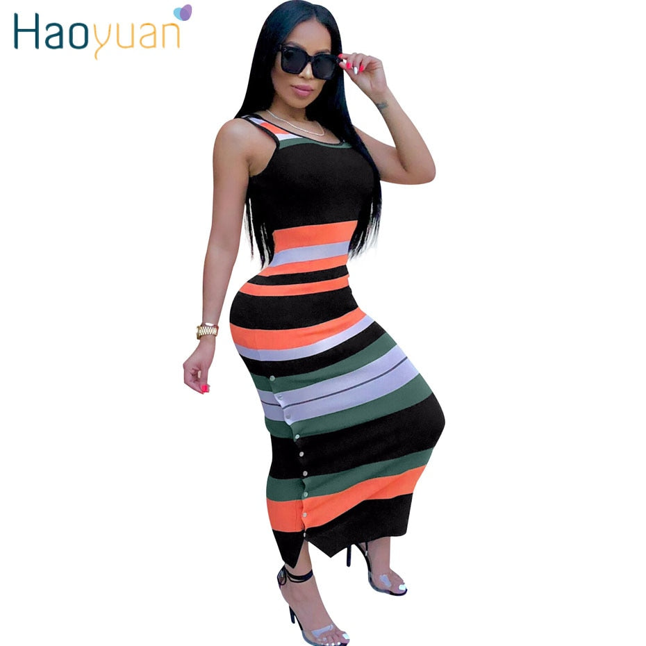 deaa31ec91 Hover to zoom · Striped Sexy Long Maxi Dress Club 2018 New Summer Sundress  Tank Party Dresses Vestido Women Clothes