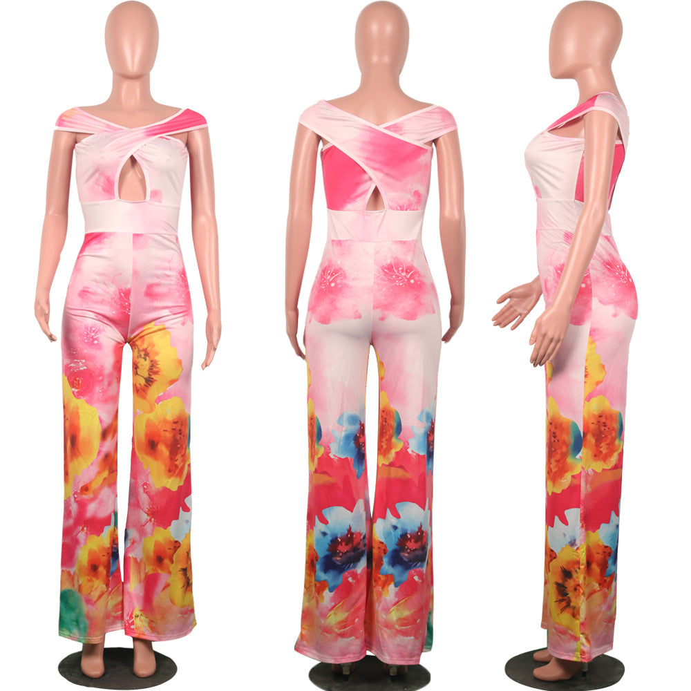 13ecd6260094 ... HAOYUAN Tie Dye Floral Print Off Shoulder Sexy Wide Leg Jumpsuit Body  Femme Summer Overalls One ...