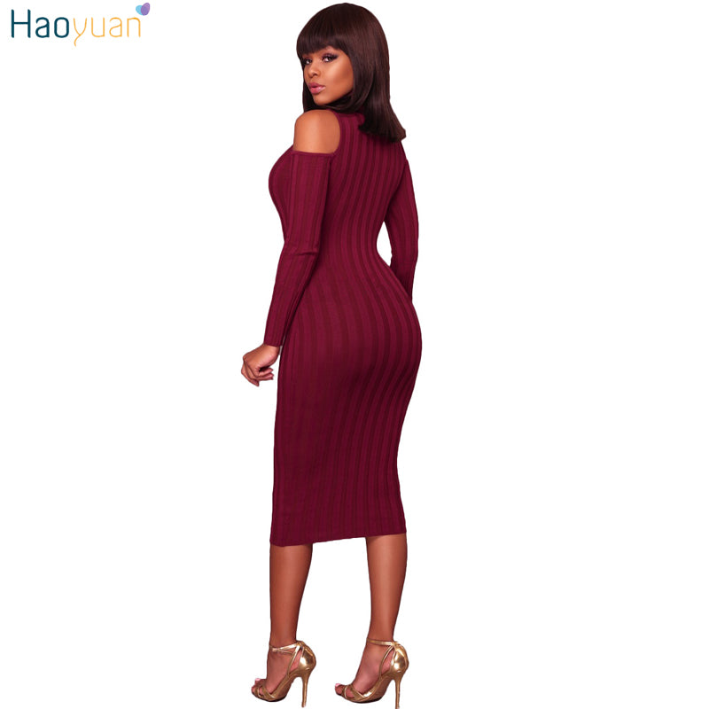 c2e60dda3847 ... Women 2017 Autumn Winter Dress Cold Shoulder Long Sleeve Ribbed Knitted  Midi. Hover to zoom