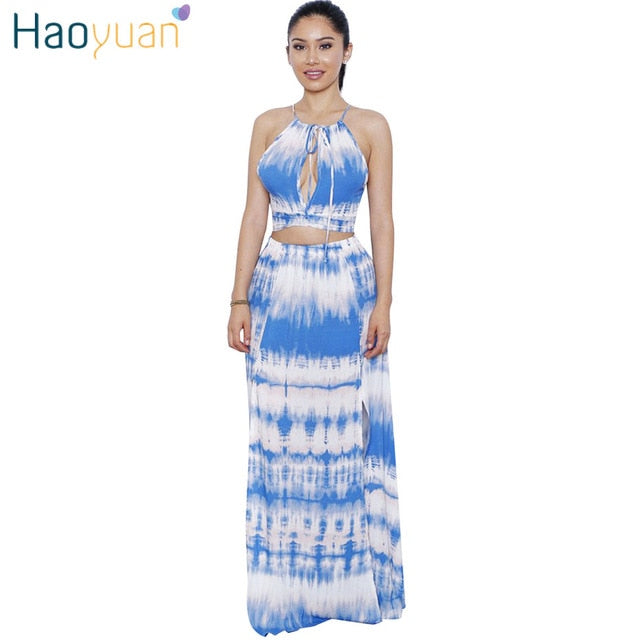 20b33996a1 Hover to zoom · Two Piece Set Tie Dye Maxi Dress Women Sundress Robe Sexy  Club Off Shoulder Summer Beach