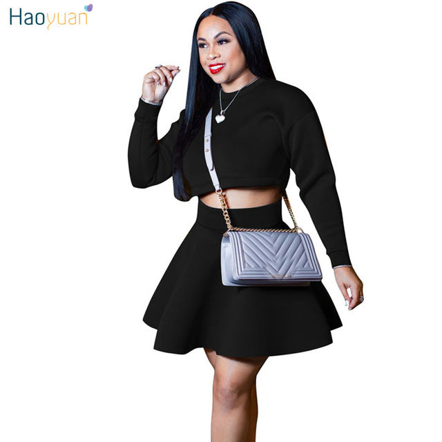 8a2d4ed139d30 HAOYUAN Two Piece Sexy Dress Women Clothes Fall 2018 Winter Long Sleeve  A-Line Short. Hover to zoom