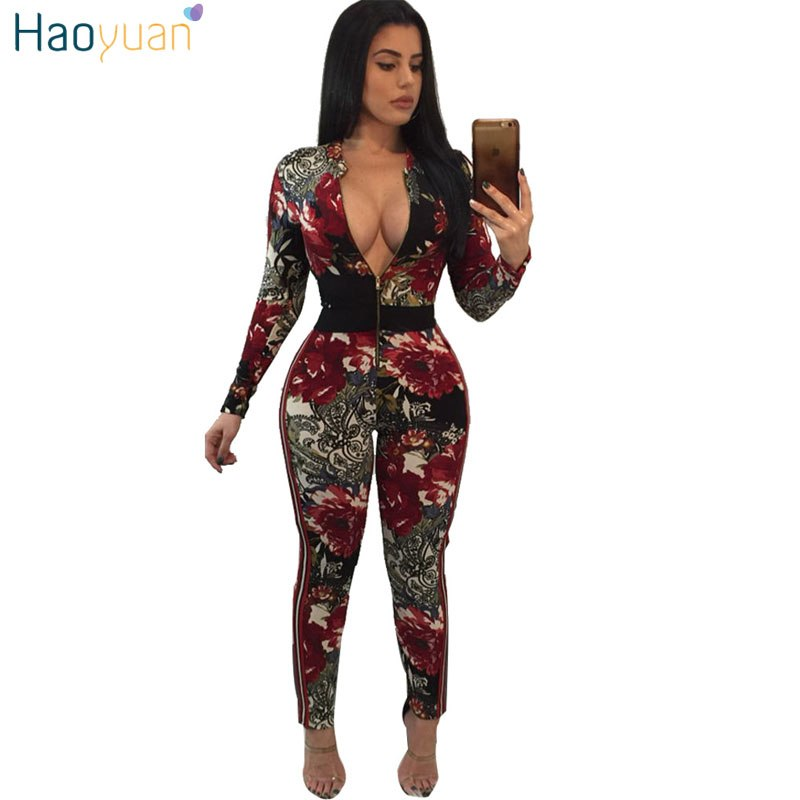 c7dca9ce72c ... HAOYUAN Woman Tight Sexy Bodysuit Overalls Front Zip Night Club Party  Playsuit Bodycon Long Sleeve Rompers