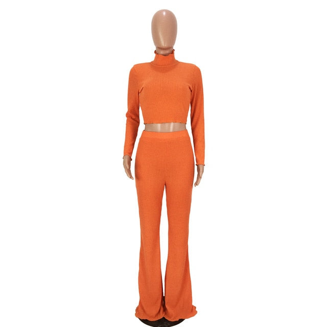 4183569e766bd HAOYUAN Women Autumn Matching Sets Clothes Sexy Outfits Turtleneck Knitted  Sweater Tops and Wide Leg Pants Suit Two Piece Set