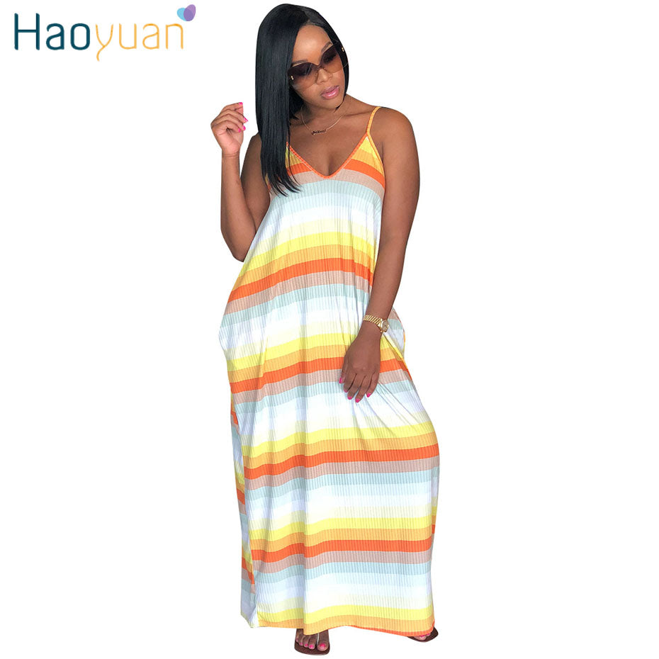 f644a4c9d6 Hover to zoom · HAOYUAN Women Beach Dress Striped Summer Dresses 2018 New  Casual ...