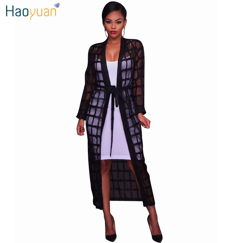 af46d6f0aef03 Hover to zoom · HAOYUAN Women Cardigan Black Mesh Plaid Long Maxi Dress  2017 Casual Beach Full Sleeve ...