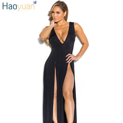 HAOYUAN Women Maxi Dress Vestidos Robe Summer Party Dresses Deep-V Sundress  Hight Slit Red ... 82995abcc