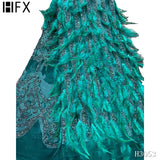 HFX Latest African French Feather Lace Fabric High Quality Embroidered Tulle Lace Fabric with Sequins For Party Dresses F3053
