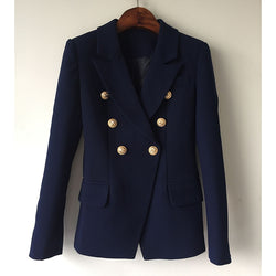 HIGH QUALITY New Fashion 2018 Designer Blazer Jacket Women's Metal Lion Buttons Double Breasted Blazer Outer Coat Size S-XXL