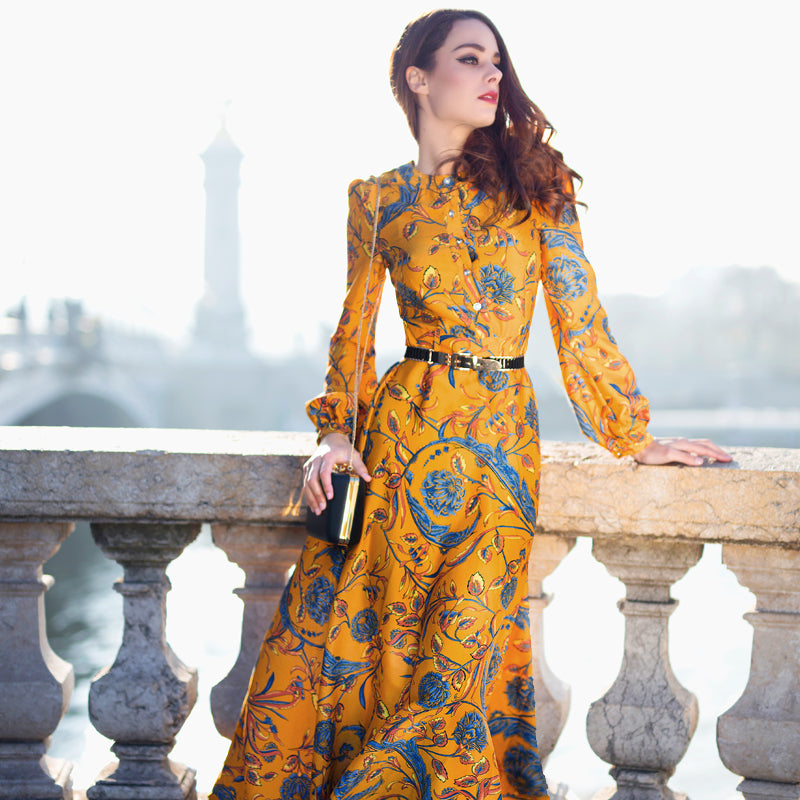 0228d25b87d92 ... Designer Maxi Dress Women's Long Sleeve Yellow Gorgeous Floral Print  Long. Hover to zoom