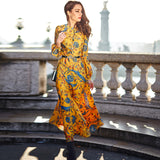 HIGH QUALITY New Fashion 2018 Designer Maxi Dress Women's Long Sleeve Yellow Gorgeous Floral Print Long Dress Plus size S-XXXL