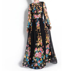 8b8cc8449e3 HIGH QUALITY New Fashion 2018 Designer Runway Maxi Dress Women s Long  Sleeve Gorgeous Floral Printed Bow ...