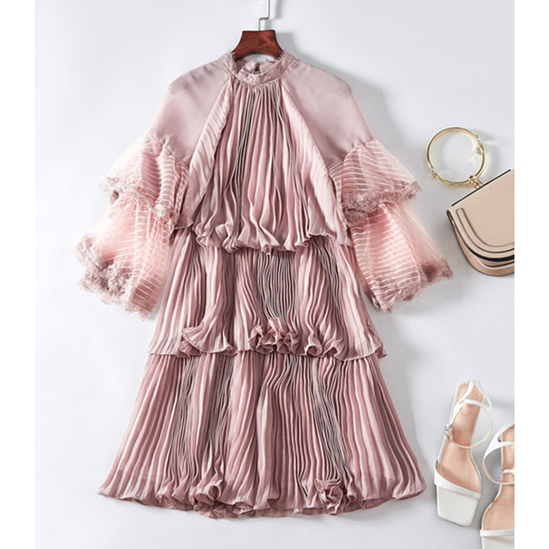cc6012c6a3a ... Summer Runway Dress Women s 3 4 Sleeve Pleated Cascading Ruffle. Hover  to zoom