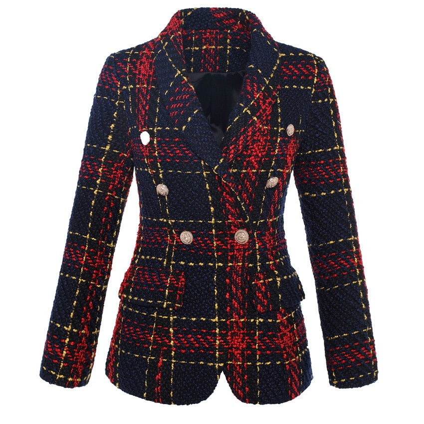 03a817fb270f Hover to zoom · HIGH QUALITY New Stylish 2018 Designer Blazer Women's  Double Breasted Lion Metal Buttons Plaid ...