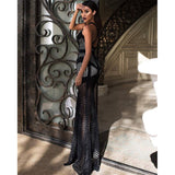 HIGH QUALITY Newest 2018 Designer Maxi Dress Women's Deep V Sexy Strap Mesh Slit Mermaid Party Long Dress