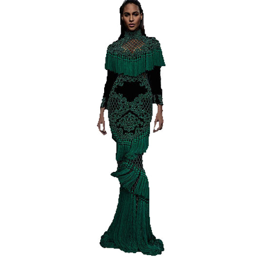 HIGH QUALITY Newest Fashion 2017 Runway Maxi Dress Women's Hollow Out Luxurious Handwork Beading Tassel Long Dress