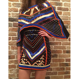 HIGH QUALITY Newest Fashion 2018 BAROCCO Unique Runway Dress Women's Batwing Sleeve Luxury Stunning Manual Hand Beading Dress