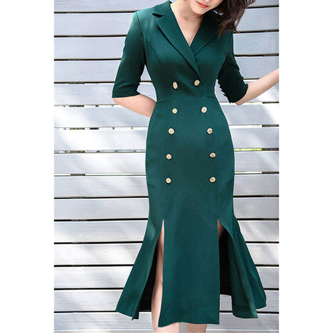 Image of HIGH QUALITY Newest Fashion Runway 2019 Designer Dress Women's Short Sleeve Double Breasted Slit Mermaid Dress