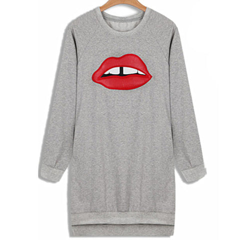 HISUMA 2017 Spring New Big Lips Women's Loose Embroidery Leather Long Basic Hip-hop Sweatshirts Women Sweatshirt female blouse