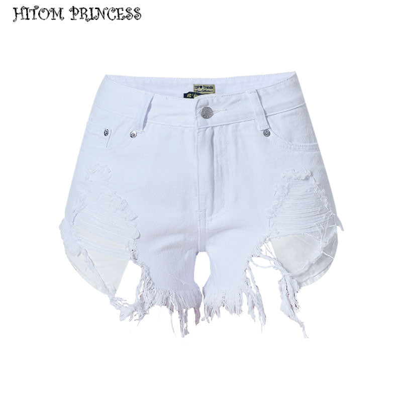 discount sale best value replicas HITOM PRINCESS White Women Denim Shorts Vintage High Waist Jeans Short  Ripped Hole Fringe Sexy Shorts For Summer Woman Shorts