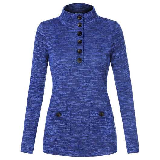 Women's Knit Stand Neck Pullover Slim Fit Button Long Sleeve Shirt