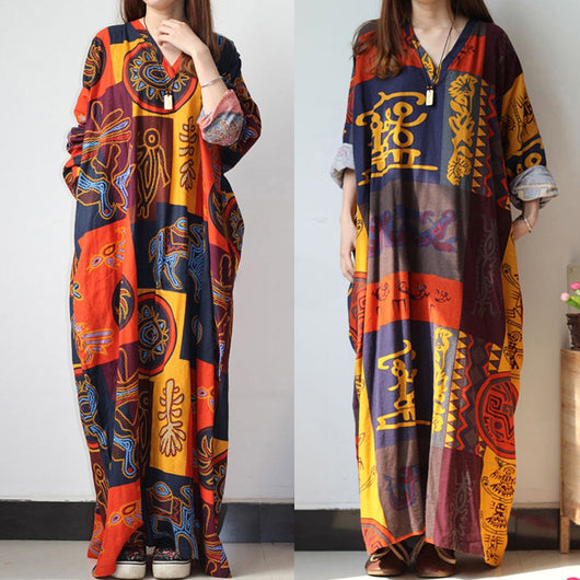 Loose Baggy Long Maxi Dress Women Casual Long Sleeve Print African Dresses Kaftan Beach Party Dresses Plus Size Women Clothing