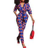 Women Blue Tribal Print African Print Clothing 3/4 Sleeves Casual Sexy Fashion Party Wide Leg Pants