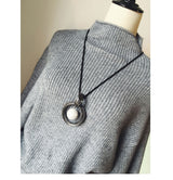 Women Circle Red Bead Pendant Sweater All-match Long Necklaces - Owame